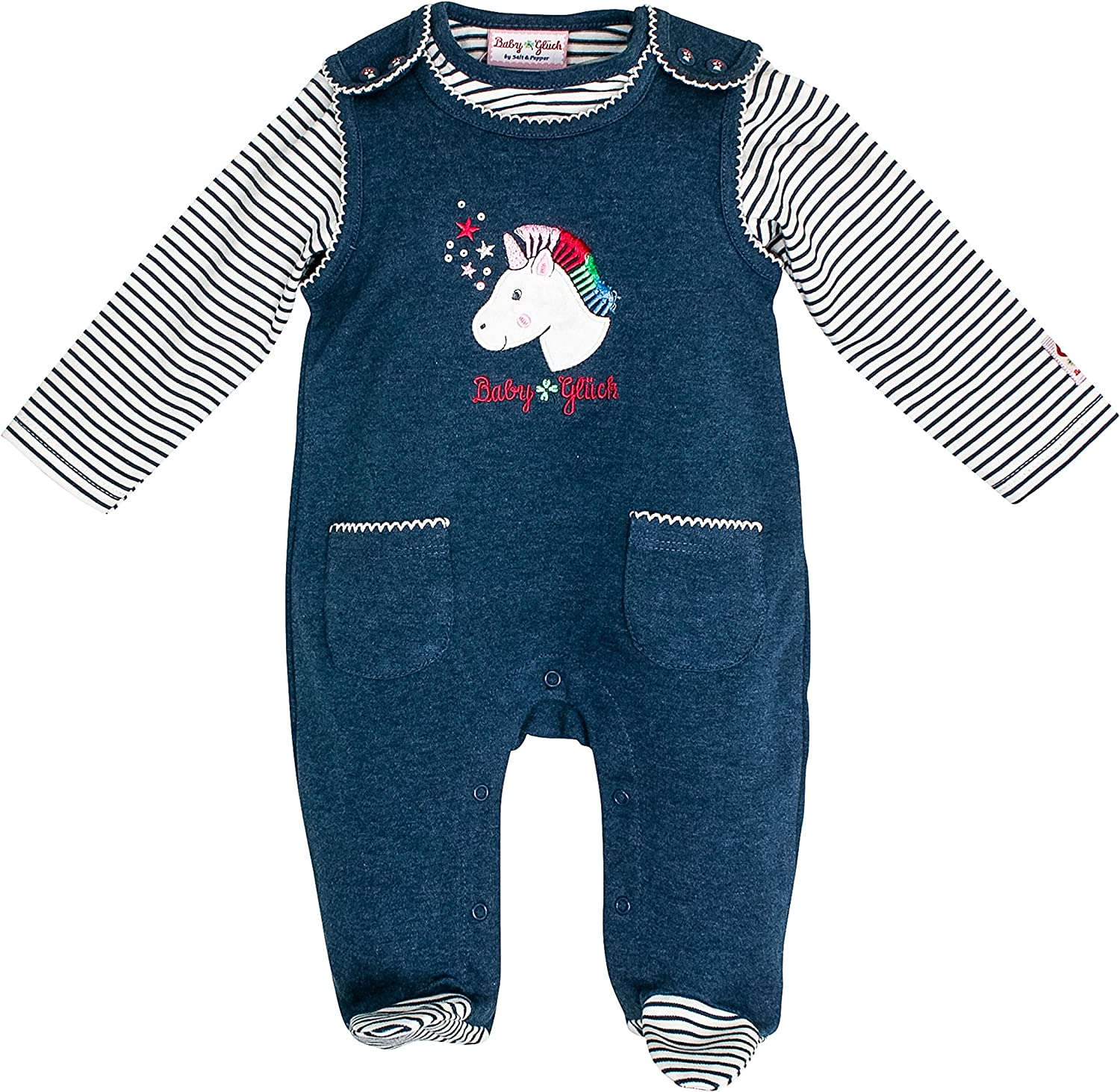SALT AND PEPPER Baby-M/ädchen Bg Playsuit Uni Einhorn Ocs Strampler
