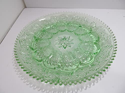 Vintage Tiara Exclusives Indiana Glass Chantilly Green Sandwich 12 Egg Platter
