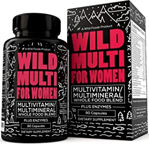 Wild Foods Multivitamin for Women - Daily Whole Food Multivitamin with 20+ Superfood Fruits + Veggies - Essential Vitamins & Minerals for Everyday Health - Non GMO & Gluten Free - 90 Capsules