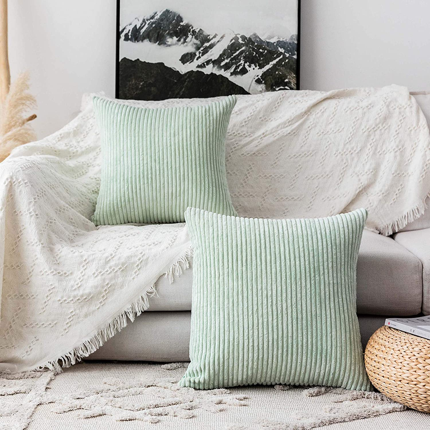 Home Brilliant Decorative Pillow Covers for Couch Throw Pillow Covers Sofa Bench, Set of 2, 18x18 inches, 45cm, Mint