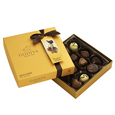 Godiva, Gold Rigid Box bombones pralines surtidos caja regalo 14 piezas, 165g