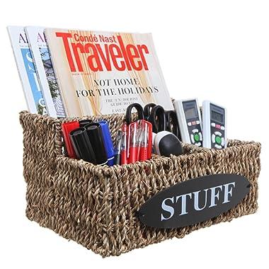 MyGift Beige Woven Seagrass 'Stuff' Design Desktop Storage Shelf Basket/Multipurpose Organizer Bin