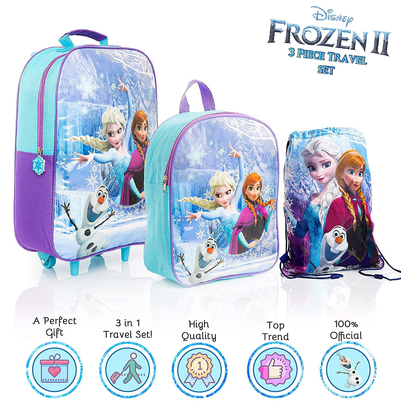 Disney Frozen 2 Mochilas Escolares Para Ni/ñas con Anna Elsa y Olaf Set de Viaje Princesas Disney 3 Piezas Bolsa Tela de Cuerdas Mochila Escolar y Mochila con Ruedas Regalos Para Ni/ños