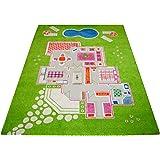 Little Helper - Alfombra infantil de juegos en 3D (100 x 200 cm), diseño de casa, color verde