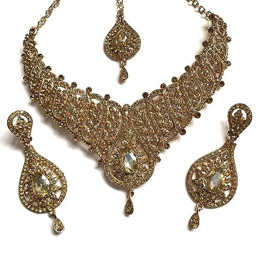 51a25fdf497e chamak Juego de Joyas Collar Pendientes Bollywood Estilo Indio de ...