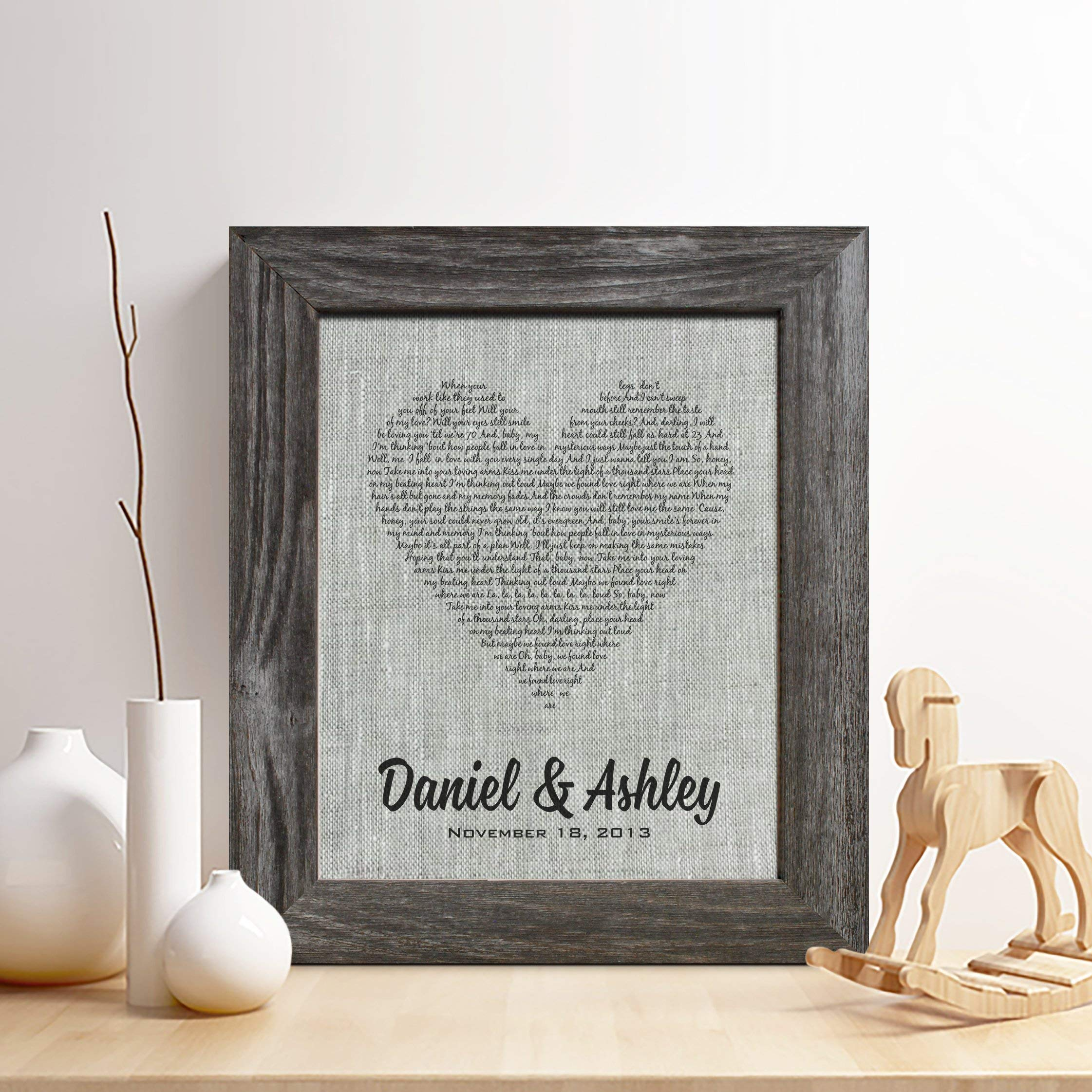 Personalized 4th Linen Anniversary Gift for Him or Her, First dance song Linen Print, Wedding Vows, any Text, Heart Linen Print,Gifts for Husband and Wife, 4 Years Together