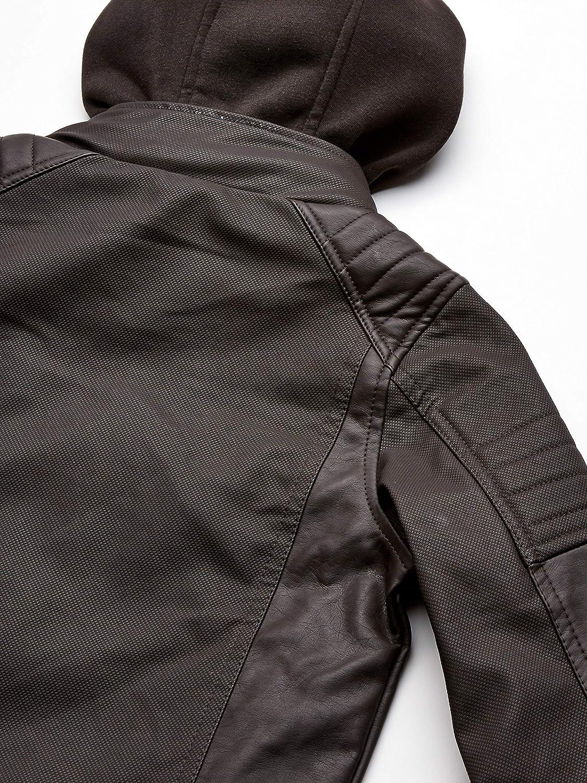 Darkbrown Urban Republic Toddler Boys Textured Faux Leather Jacket 4T