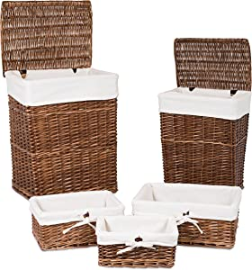 BIRDROCK HOME Woven Willow Baskets with Liner for Storage and Laundry - Set of 5 - Rectangular Hamper Bins with Lids - Decorative Wooden Wicker Basket for Organizing Blankets - Baby Organizer - Brown