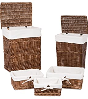 BirdRock Home Woven Willow Baskets With Liner | Set Of 5 | Rectangular  Hampers And Storage