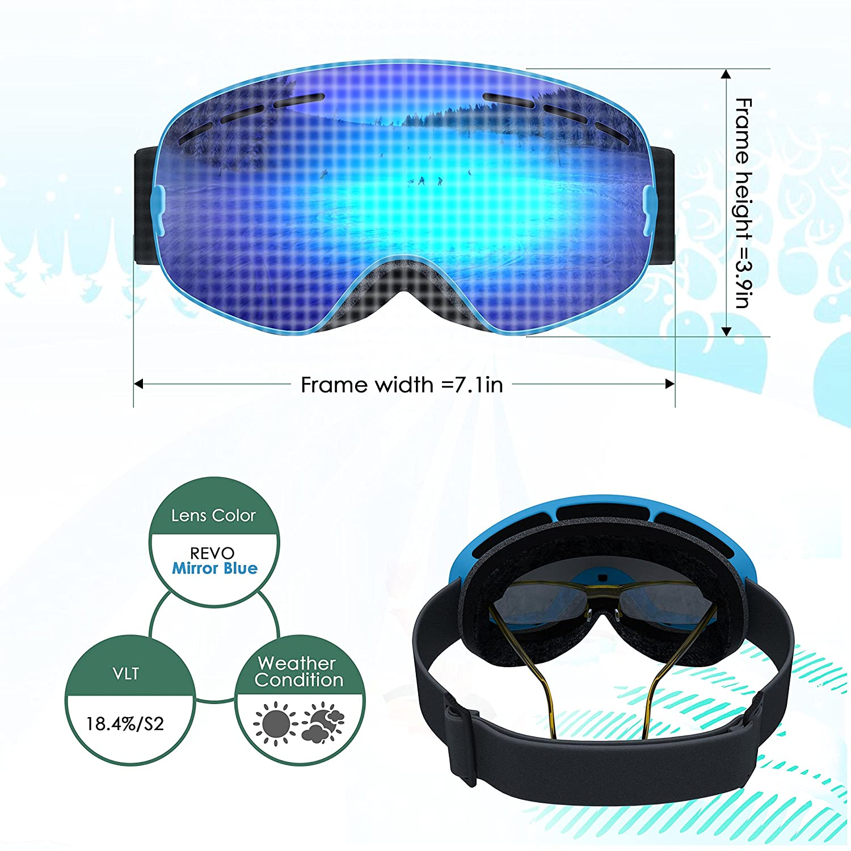 261bf3023602 UShake Kid Ski Goggles Anti Fog Lenses 100% UV Protection Child Skiing  Goggles