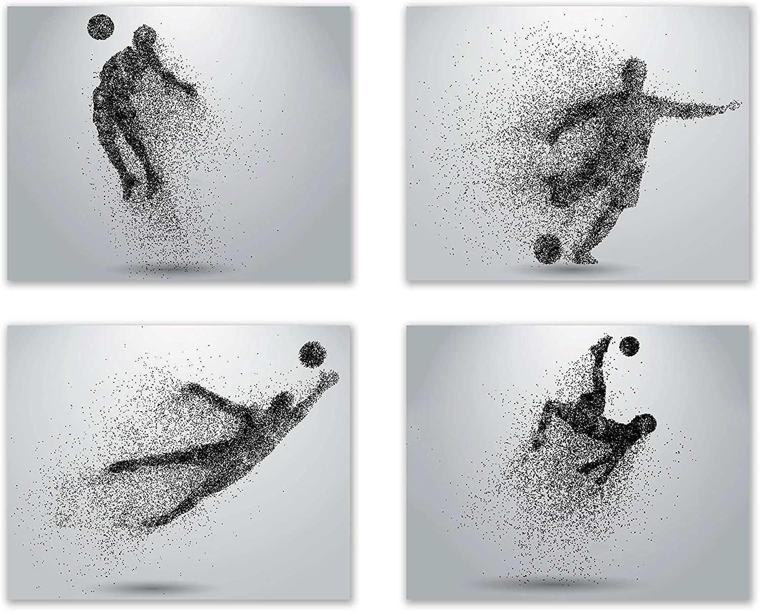 Summit Designs Soccer Wall Art Prints - Particle Silhouette – Set of 4 (8x10) Poster Photos - Man Cave- Bedroom Decor