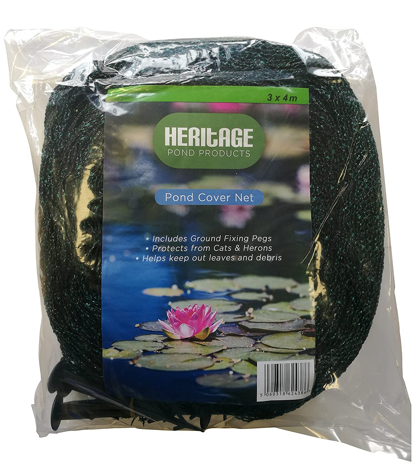 Heritage Pet Products Pond Cover Net Koi Fish Pond Netting Protects From Cats Leaves Herons (3m x 3m Pond net)