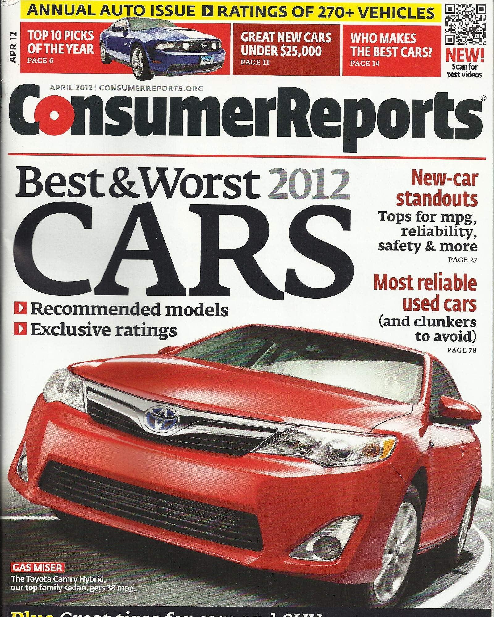 Consumer Reports April 2012 Annual Auto Issue - Best & Worst Cars ...