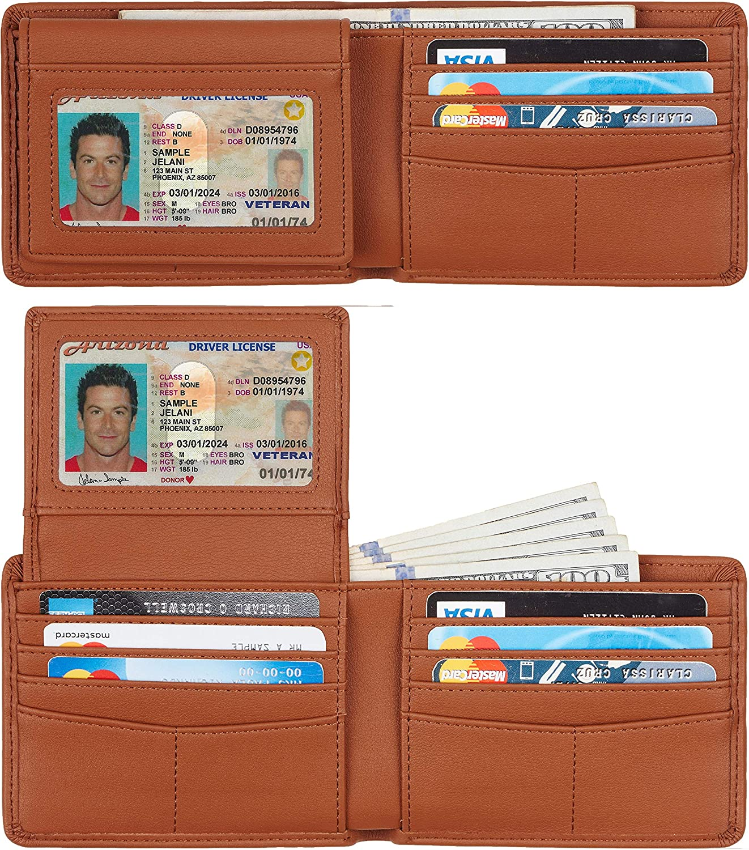 Mens Handmade Genuine Leather Bifold Classic Front Pocket RFID Blocking Wallet