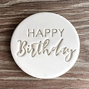 Happy Birthday Fondant Embosser or Cookie Stamp with handle