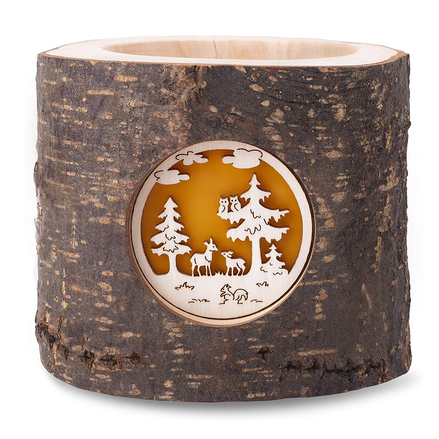 Forest Decor Wood Tealight Candle Holder with Wildlife Scene, Natural Unfinished Bark, Living Room, Bedroom, and Home Decor, Decorative Display, Handmade in Germany
