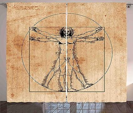 Anatomía Humana cortinas por Ambesonne, Medieval hombre de Vitruvio ...