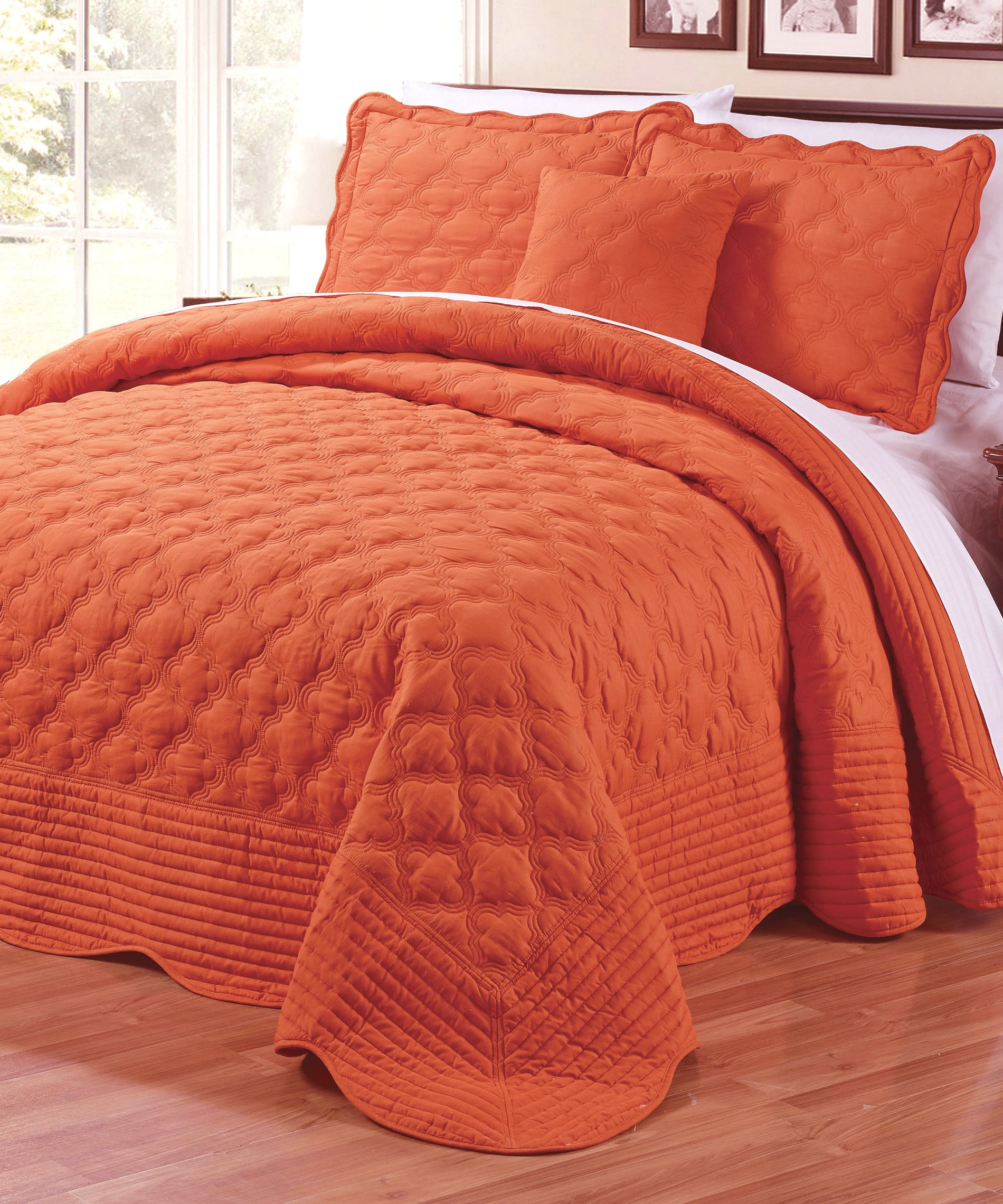 Serenta Quilted Cotton Bedspread 4 PCs Bedspread Set, King, Orange by Home Soft Things
