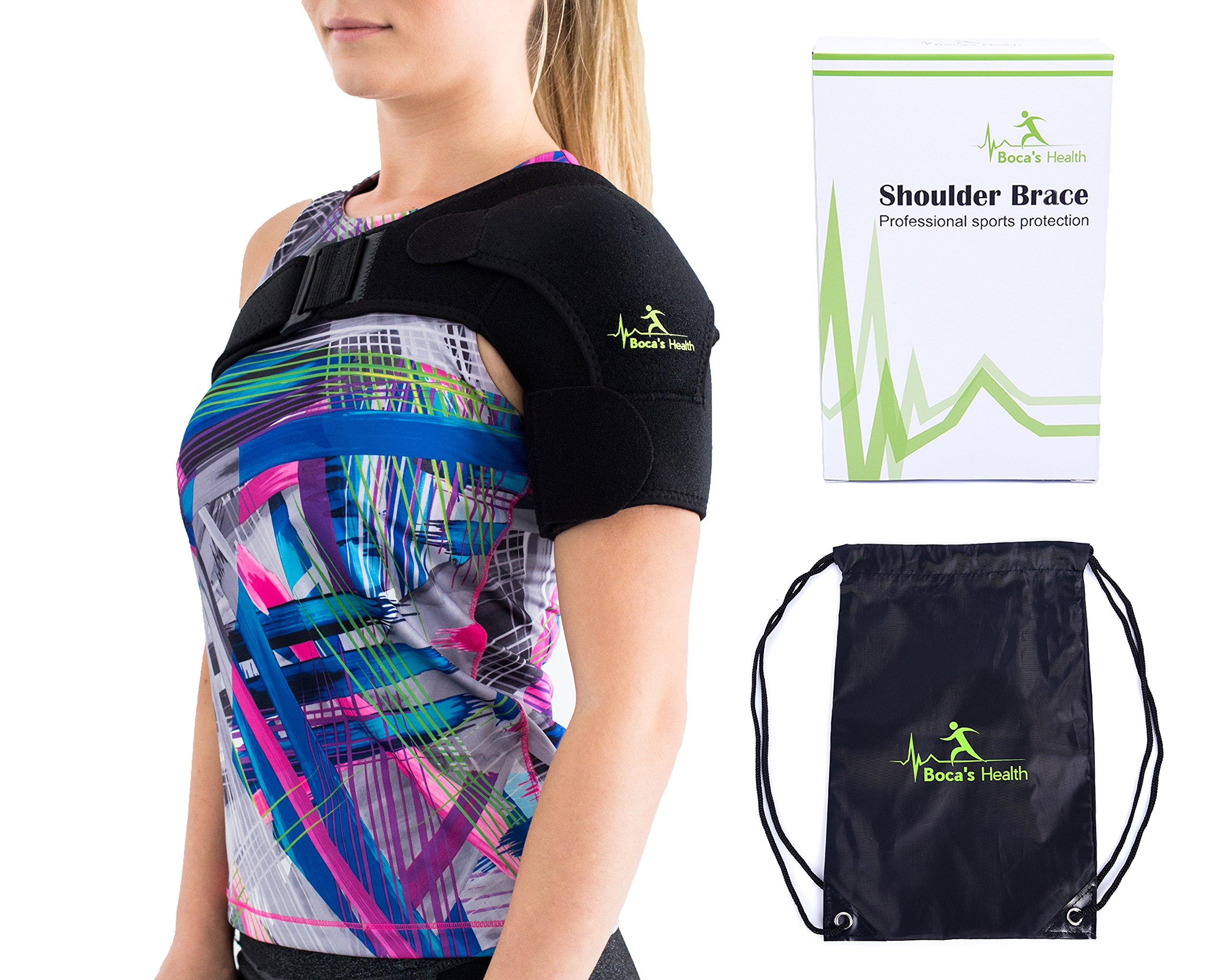 Shoulder Brace with Pressure Pad - for Women and Men - Breathable Neoprene - Stability and Injury Prevention - Shoulder Support for Rotator Cuff Dislocated AC Joint Labrum Tear Shoulder Pain