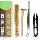 Planters' Choice Bonsai Tool Kit - Includes: Tweezers, Bamboo Rake, Bamboo Brush, and Pruning Shears (Trimmer / Scissor) | Bonsai Tools Accessories