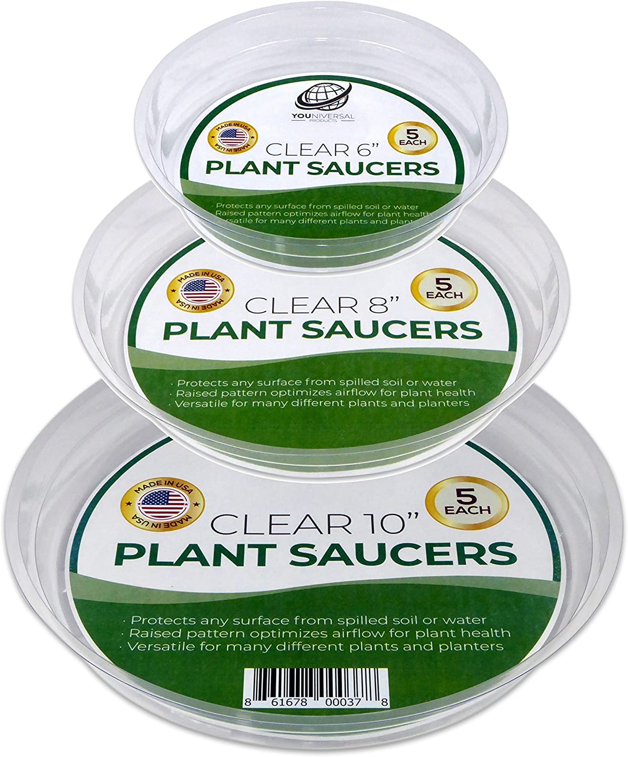 YOUniversal Products 15 Pack of 6, 8, 10 Inch Clear Plant Saucer Drip Trays : Garden & Outdoor