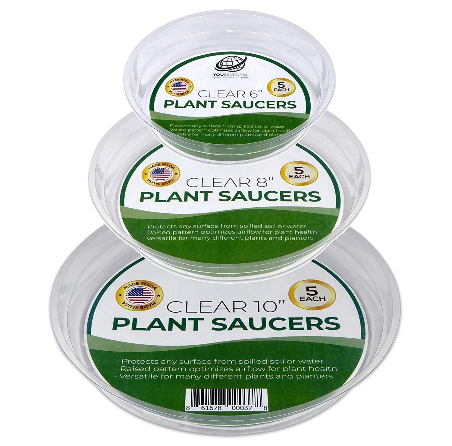 YOUniversal Products Clear Plant Saucer Drip Trays - Assorted Sizes for Large to Small Pots