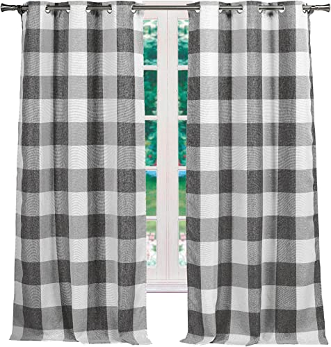 Elegant Linens Buffalo Plaid Gingham Check Farmhouse Curtains