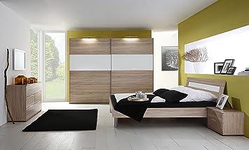 Schlafzimmer Mit Bett 180 X 200 Cm Eiche Sägerau Glas Weiss Amazon