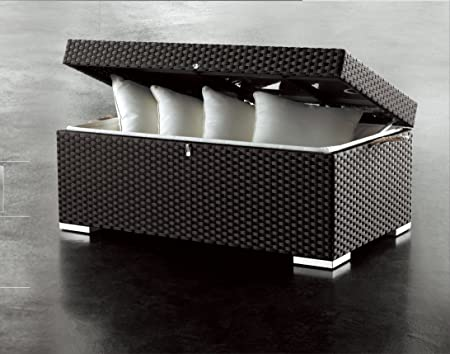 InterougeHome-Baúl de almacenaje de exterior para jardín resina trenzada, color negro chocolate para guardar o