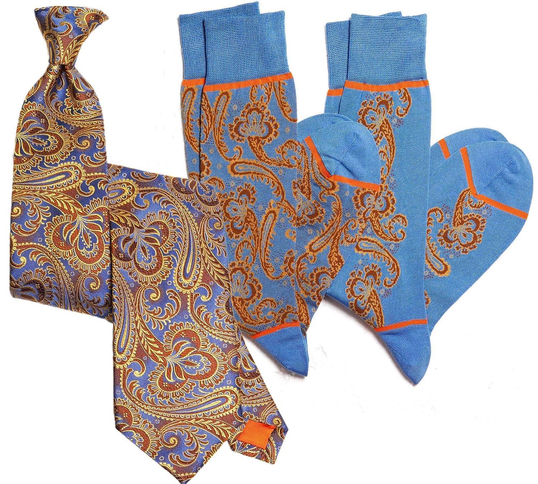 Stanley Lewis Mens Royale Paisley Tie /& Sock Set Royal Blue