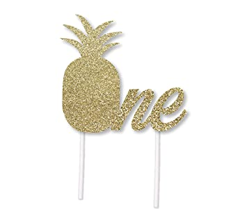 Pineapple Birthday Cake Topper In Gold Glitter 1st Party Luau Hawaii Themed