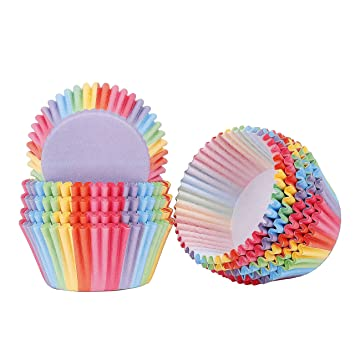 Papel para Cupcakes 200 Unidades Rainbow Papel para Magdalenas Muffins para Hornear Pastel Tarta Cumpleaños Bodas Fiesta: Amazon.es: Hogar