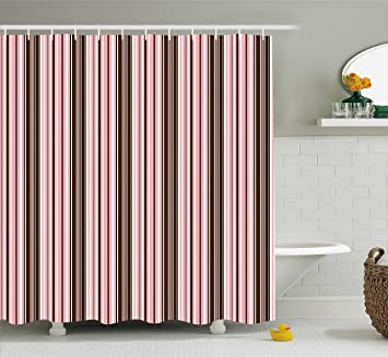 Incroyable Ambesonne Brown Shower Curtain By, Little Stars In Circles Cute Pink Hearts  Polka Dots On