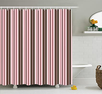 Ambesonne Brown Shower Curtain Little Stars In Circles Cute Pink Hearts Polka Dots On Dark