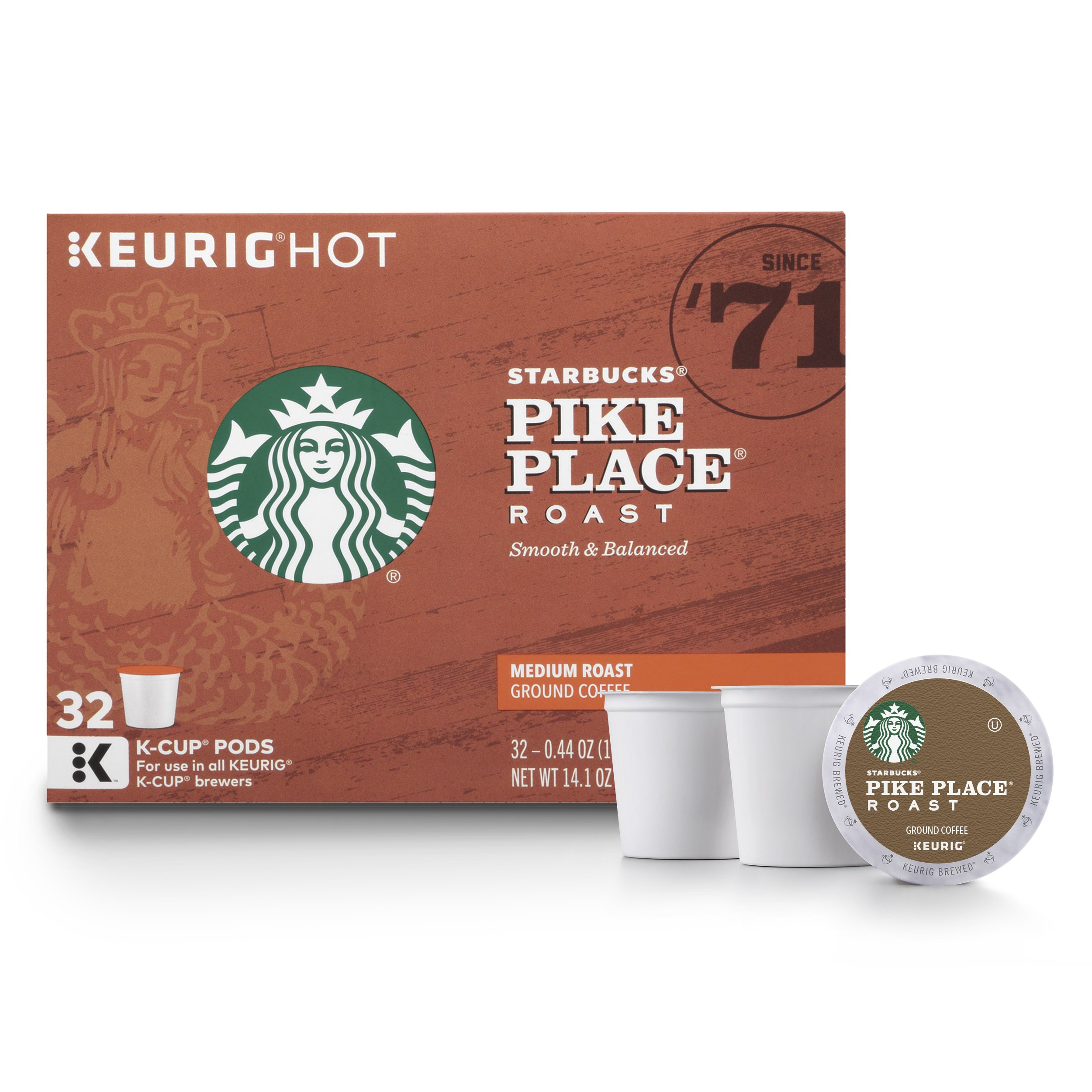 Starbucks Pike Place Roast Medium Roast Single Cup Coffee for Keurig Brewers, 1 box of 32 (32 total K-Cup pods) by Starbucks
