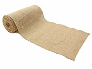 "CleverDelights 9"" Premium Burlap Roll - 10 Yards - No-Fray Finished Edges - Natural Jute Burlap Fabric"