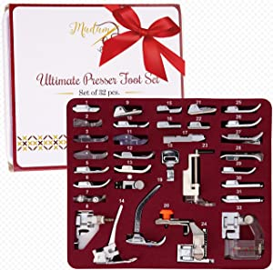 Madam Sew Presser Foot Set 32 PCS - The ONLY One with Manual, DVD and Deluxe Storage Case with Numbered Slots for Easy and Neat Organization