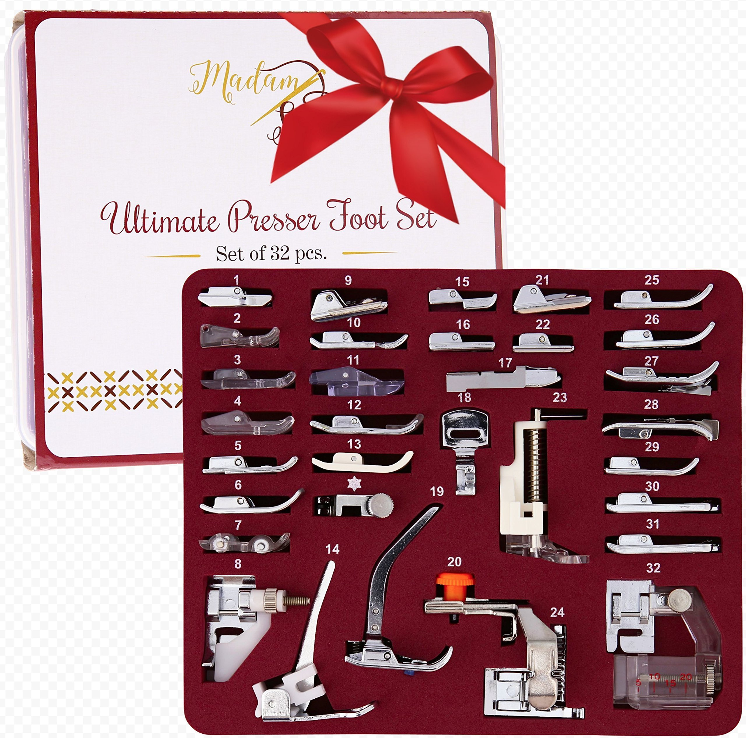 Madam Sew Presser Foot Set 32 PCS - The ONLY One with Manual, DVD and Deluxe Storage Case with Numbered Slots for Easy and Neat Organization by Madam Sew