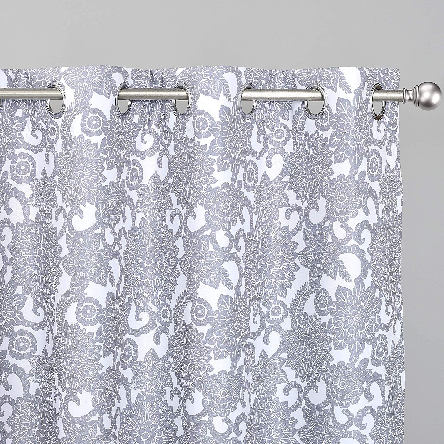 DriftAway Daisy Dahlia Blooming Flower Floral Blackout Room Darkening Thermal Insulated Grommet Lined Window Curtains 2 Panels 2 Layers Each 52 Inch by 84 Inch Gray