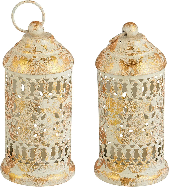 Set of 2 White Decorative Lantern   Hanging Candle Holder   Vintage Style Home Decorative Lanterns   Outdoor Hanging Lantern   Farmhouse Lanterns Home Decor   Candle lanterns   Wedding Decorations  