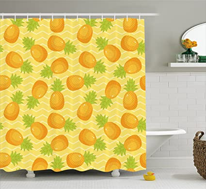 Ambesonne Yellow Chevron Shower Curtain Tropical Juicy Pineapple Pattern On Simple Geometric Backdrop Fabric