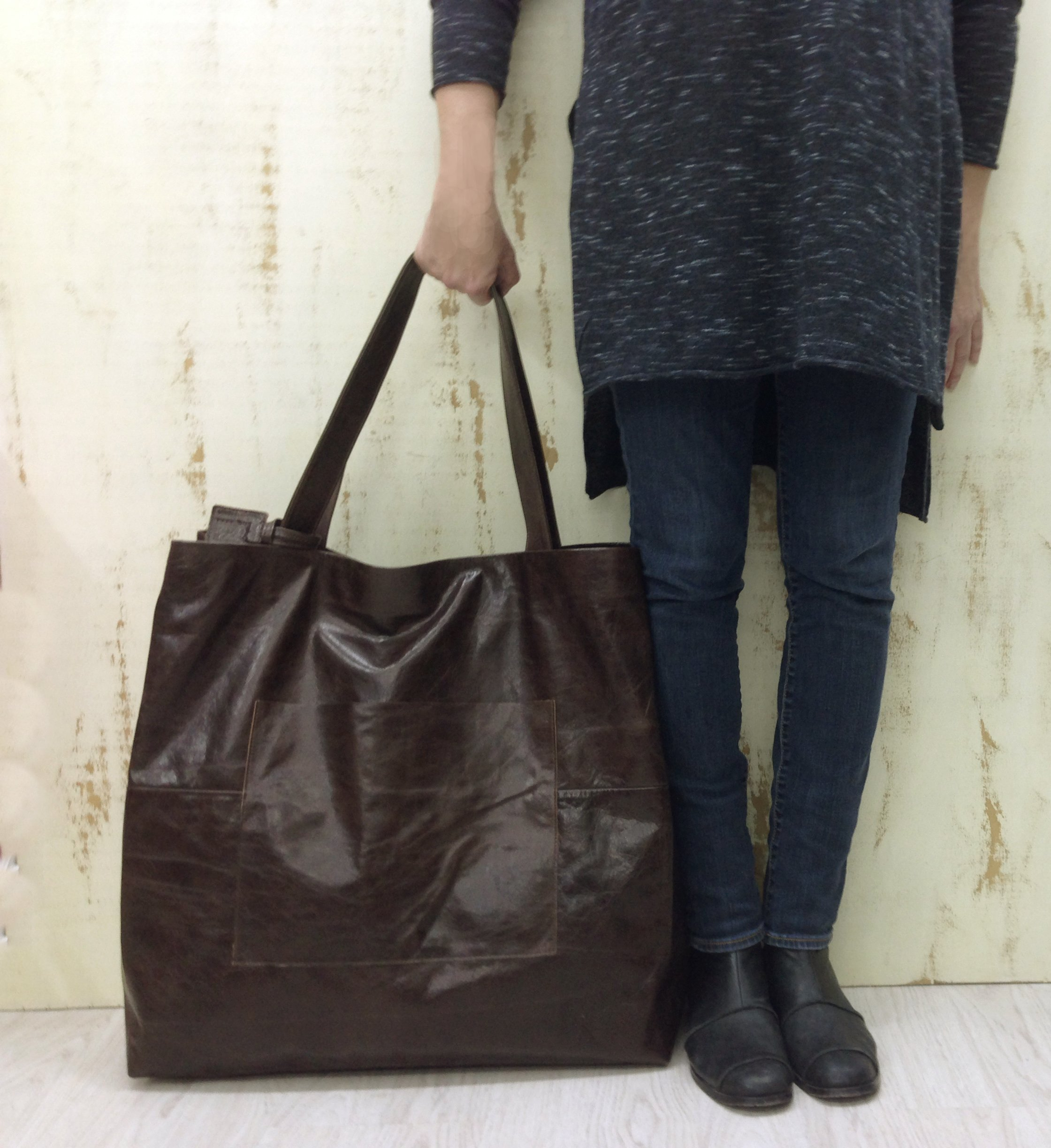 Oversized leather tote bag Extra large Duffel Travel Brown Giant overnight Handmade weekender