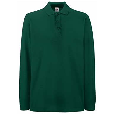 Fruit Of The Loom Premium Long Sleeve Polo (L, Forest Green)