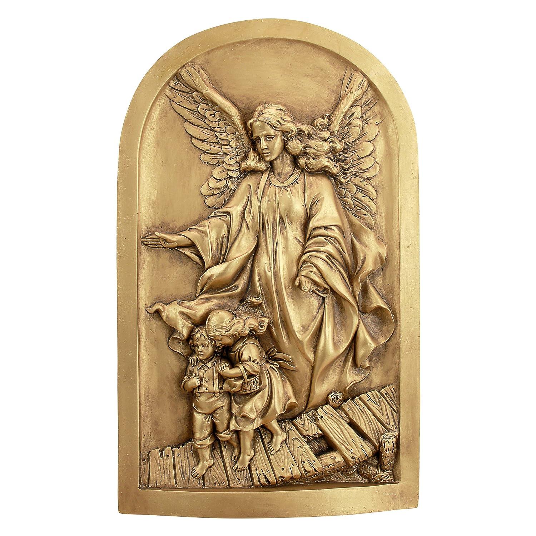 Design Toscano EU32626 Angel of God Guardian Angel Wall Sculpture, Gold
