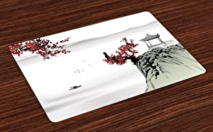 Ambesonne Asian Place Mats Set of 4, River Scenery with Cherry Blossoms Boat Cultural Hints Mystical View, Washable Fabric Placemats for Dining Room Kitchen Table Decor, Ruby Grey
