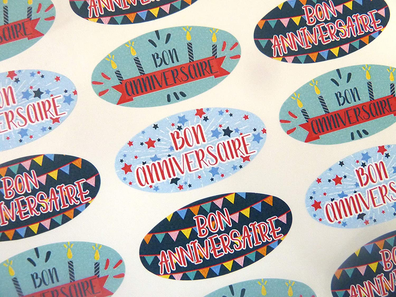 Admirable Amazon Com Pack Of 30 Bon Anniversaire French Birthday Greeting Personalised Birthday Cards Paralily Jamesorg