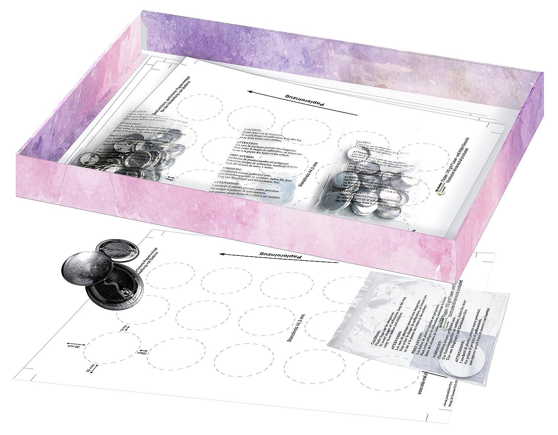 Kit de recambio para pins y chapas de 30 mm (30 uds.) válido para la máquina Badge-It Button-Maker con papel de pin A4: Amazon.es: Juguetes y juegos