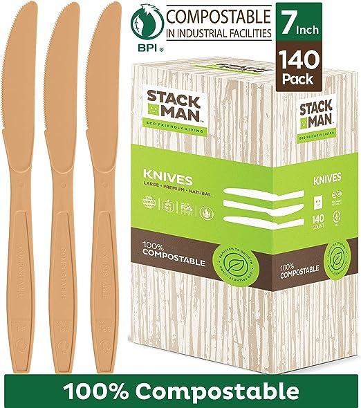 Paquete de 140 cuchillos desechables de plástico 100 % compostable ...