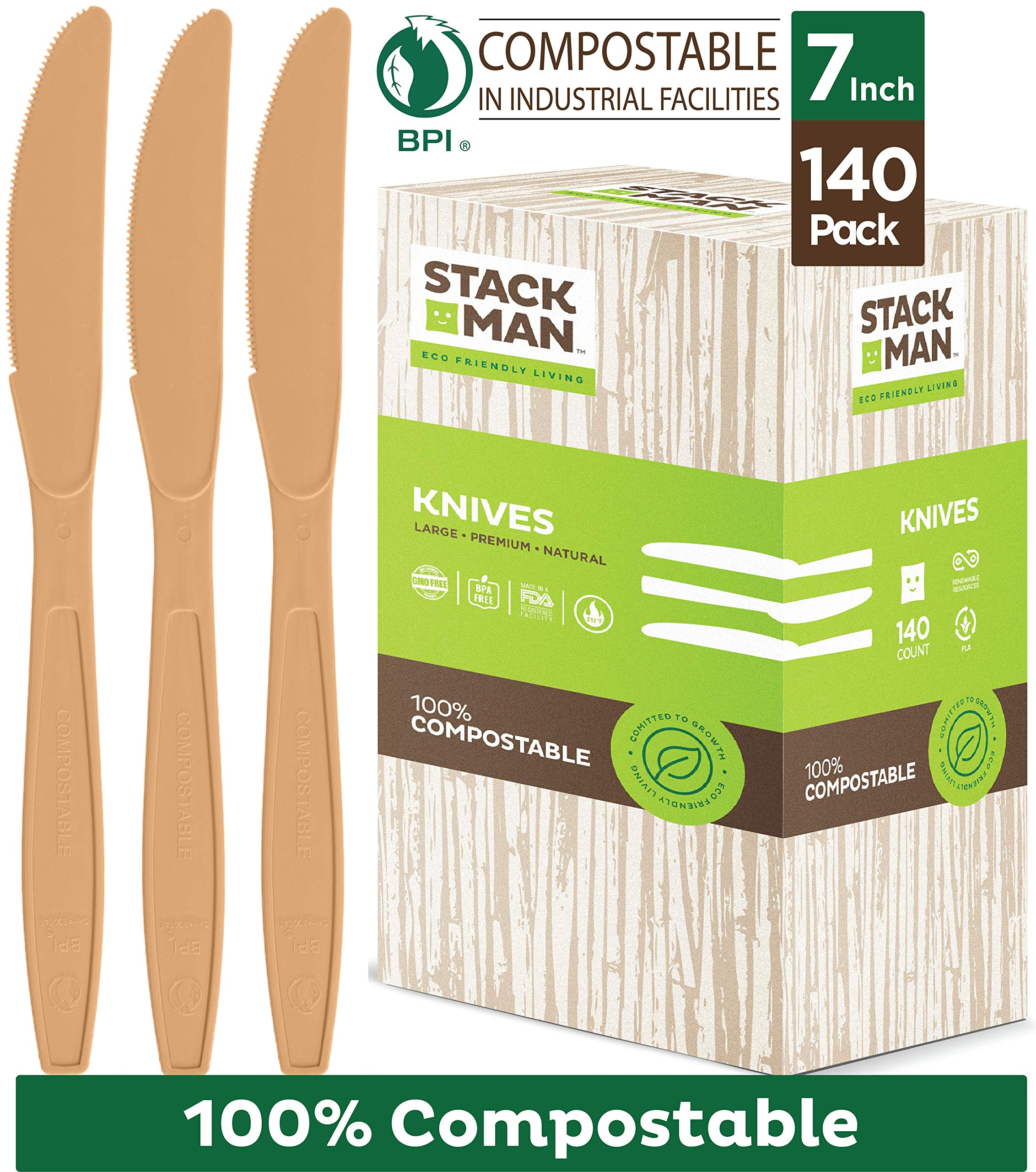 Disposable Knives 140 Pack 100% Compostable Plastic Silverware, Large 7.5'' Premium Heavy Duty Flatware Utensils, Eco Friendly Certified 100% Biodegradable Natural Wood Color Tableware by Stack Man
