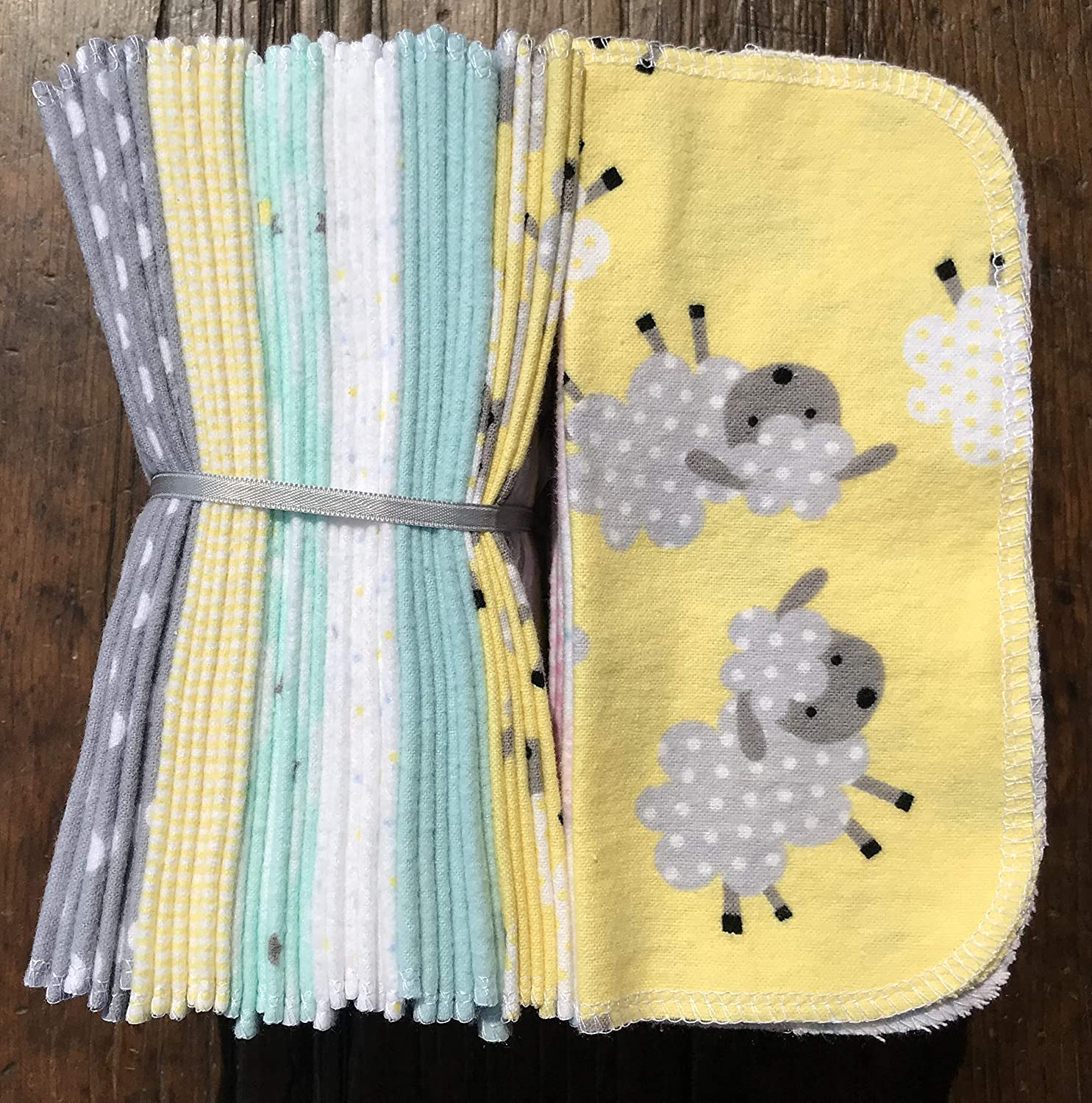 Cloth Baby Wipes Starter Kit. Set of 3 Dozen Wipes. Reusable Cloth Wipes. Baby Shower Gift. Eco Friendly. Reusable Cloth Napkin. Reusable Dryer Sheets. Now I Lay Me Down To Sheep